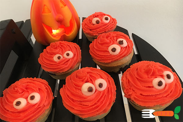 veganske halloweenmuffins - sjove veganske muffins - nem opskrift