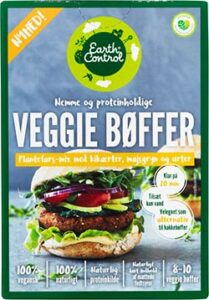 veggiebøffer earth control vegansk burger i supermarkeder