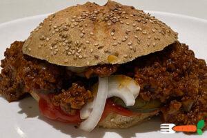 vegansk sloppy joe burger opskrift med vegansk kødsovs