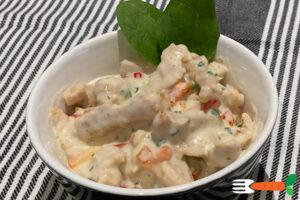 vegansk hønsesalat opskrift med soyakød
